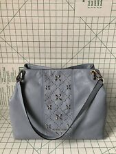 NWT MICHAEL KORS LEIGHTON PEBBLE LEATHER HOBO STUD SHOULDER BAG PALE BLUE