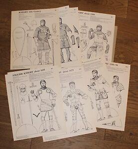 (112B)  12 planches à découper et colorier / Robinson / English German Knight