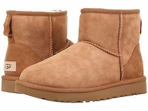 Women's Shoes UGG CLASSIC MINI II Slip On Sheepskin Ankle Boots 1016222 CHESTNUT