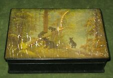 Vintage Russian Fedoskino Hand Painted Papier Mache Lacquer Box Bears