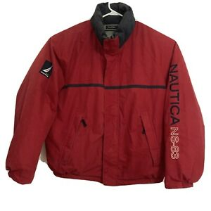 VINTAGE NAUTICA down puffer Jacket REVERSIBLE red/gray w/sleeve spellout size XL