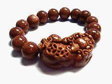 Feng Shui handmade Gold Stone pi yao /pi xiu Bracelet for Ambition & wealth luck