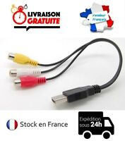CABLE CORDON USB 3 RCA FEMELLE 30CM NEUF ADAPTATEUR AUDIO VIDÉO AV HDTV 1080P