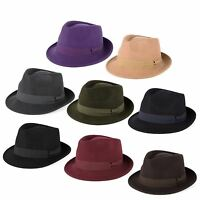 100% Wool Trilby Hat with Grosgrain Band Handmade in Italy