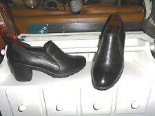 LNC*.Sz 9.5  B.O.C. BORN; Black Pebble Leather 2 Elastic Inserts Slip-On Shoes