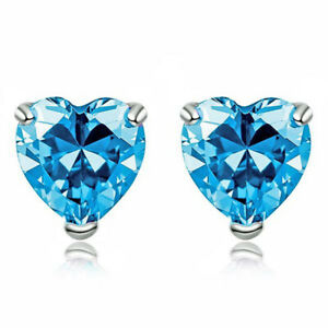 Top A Quality 6mm Heart Cut Created Blue Topaz 925 Sterling Silver Studs