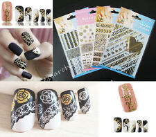 Black Golden 3D Lace Embossed Nail Art Sticker Decal Manicure Tips Diy Decoratio