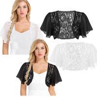Womens Floral Lace Short Sleeve Open Cardigan Shrug Top Chiffon Bolero Crop Top