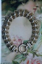 Antique Jewellery Sterling Silver Chain Bracelet Solid Heavy Vintage Jewelry