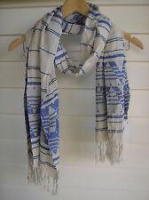 Cotton On Women's Oat & Blue Scarf with Fringe - Size OSFM