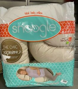 Leachco Snoogle Chic Supreme Full Body Pregnancy Support Pillow Comfort Beige