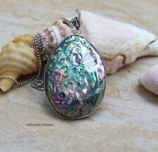 Iridescent natural Paua Abalone Shell pendant necklace (1AP1)