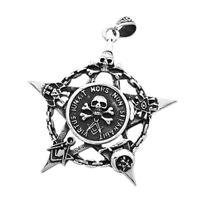 Anhänger Freimaurer Totenkopf Pentagramm Stern Edelstahl Halskette Lederkette