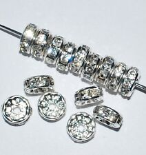 100pcs 8mm Rhinestone Rondelles Spacer Beads Silver Crystal - CRF801
