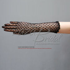 Delicate Long Stretch Nylon Filet Crochet Gloves with Sequins and Beads