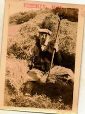 Old Vintage Antique Photograph Man Pitching Hay Sitting By Hail Bail