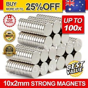 UP100x Super Strong Round Disc Magnets Rare-Earth Neodymium Magnet N35 10 x 2 mm