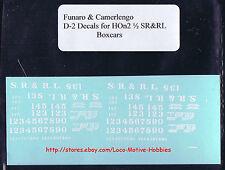 LMH Funaro F&C D-2 HOn2-1/2 HOn30 SR&RL Sandy River Rangeley Lakes DECALS Boxcar