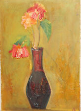 1986 oil painting postimpressionist still life with flowers and vase
