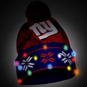 New York Giants Big Logo Light Up Printed Beanie Winter Hat Toque Cuffed Pom New