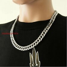 "23.6"" 9mm Piphop Silver Stainless Steel Men Women Cuban Link Curb Chain Necklace"