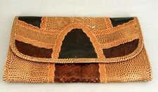 "Vintage Carlos Falchi Snake and Lizzard Skin Clutch 5 x 9"" Italy"