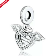 GENUINE STERLING SILVER 925 HEART & ANGEL SPREAD YOUR WINGS & FLY CHARM + POUCH