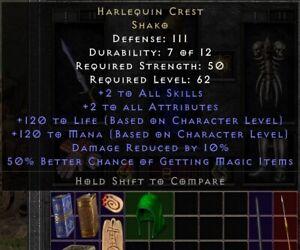 ✅ Diablo 2: Resurrected D2R ✅  Harlequin Crest Shako - PC NA SOFTCORE
