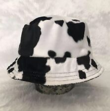 Faux Cow Fur Bucket Hat - Handmade - Festival