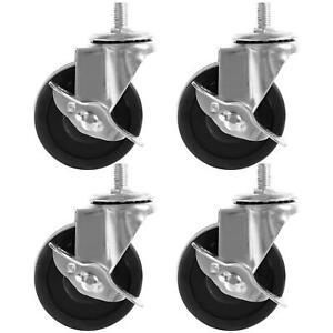 """4 PACK 3"""" 2"""" Swivel Caster Rubber Wheels Steel Top Plate Ball Bearing Heavy Duty"""