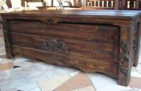 # Holztruhe 120 cm antik massiv handgefertigt aus Kiefernholz wengefarben (BT2)