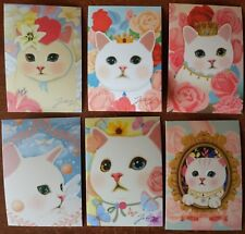 LOT 6pcs Jetoy CHOO CHOO CAT Flower WHITE KITTEN Rose CROWN Korean Art Postcard