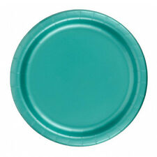 "24 Plates 6 7/8"" Paper Dessert Plates Wax Coated - Teal"