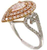 14K WHITE AND ROSE GOLD PEAR SHAPE DIAMOND ENGAGEMENT RING ART DECO BRIDAL 1.20C