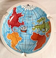 Large Vintage Ceramic Ashtray W/Hand Painted Map of the Old World Made in Italy