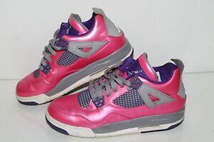 Nike Air Jordan 4 Retro GS Casual Sneakers, #487724-607, Pink Foil, Size 6.5 Y