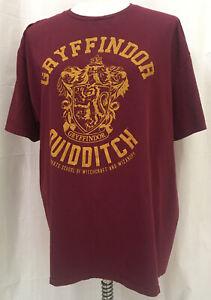 Harry Potter Gryffindor Quidditch Maroon Graphic Short Sleeve T-Shirt Size 2XL