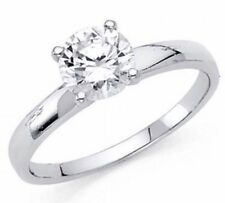14k Solid Real Gold 1 Ct Round White manmad Diamond Engagement Ring Solitaire