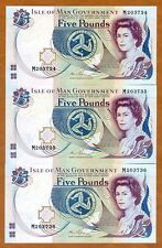 SET, Isle of Man, 3 x 5 pounds, (1983) 2015 P-41c  QEII, UNC > Consecutive Trio