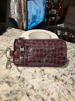 BRIGHTON Purple Embossed Leather Coin/Bill Holder/ID Holder Many Card Slots