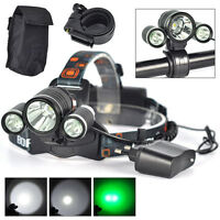 BORUIT XML T6 White R5 Green 3 LED Headlamp Bicycle Light Head Torch AC Charger
