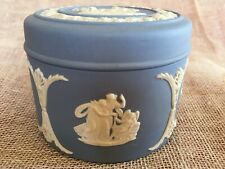 Vintage Wedgwood Blue Jasperware Pill/Trinket Box With Lid - Excellent Condition