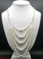 Genuine Akoya Pearl Necklace 5 Strands Round Pearls Solid Sterling Silver Custom