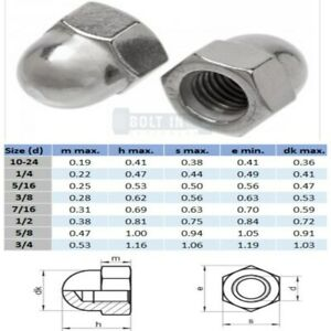 """Dome Nut Stainless Steel 304 UNC BSW 3/16"""" 1/4"""" 5/16"""" 3/8"""" 1/2"""" 5/8"""""""