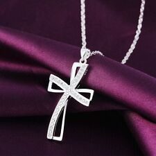 Women Fashion Jewelry 925 Sterling Silver Plated Chain Cross Pendant Necklace