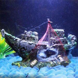 Resin Artificial Pirate Ship Wreck Home Aquarium Fish Tank Decoration Ornaments