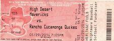 HIGH DESERT MAVERICKS VS RANCHO CUCAMONGA QUAKES-5/29/2014-FULL TICKET-#2