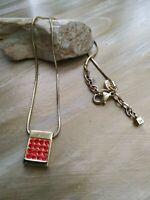 Vintage Dyrberg Kern red rhinestones goldtone necklace