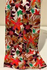 100% Mulberry Silk Satin Scarf / Shawl ~ Orchids & Green Butterflies ~ 65x210cm