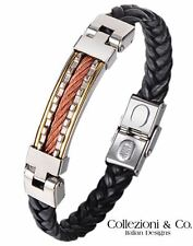 """Mens Stainless Steel Cable Black Leather Braid 8.5"""" Silver Gold Copper Bracelet"""